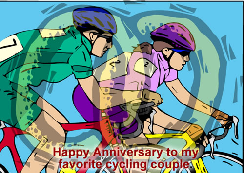 Cycling Couples Anniversary to Another Couple